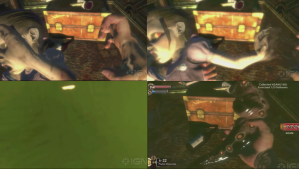 this is four panels show how a little sister is harvested in bioshock