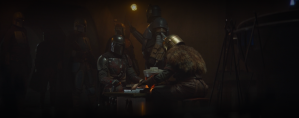 this image shows that all of the mandalorians have unique flourished to their armor but there is nonetheless a consistent them